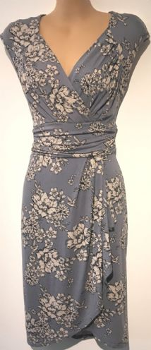 DOROTHY PERKINS BLUE BIRD/FLORAL PRINT JERSEY WRAP DRESS SIZE 6-8